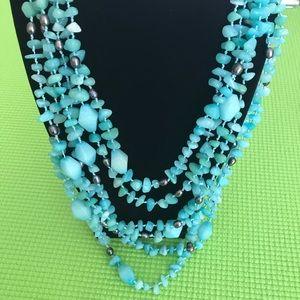 Jewelry - Blue Gemstone 6-Strand Necklace
